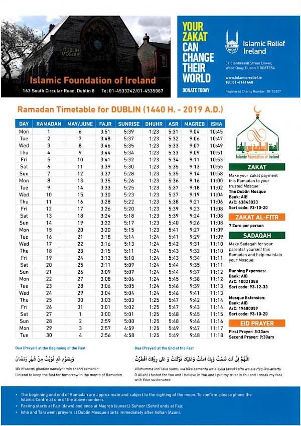 Ramadan 2019/1440 Ireland Timetables